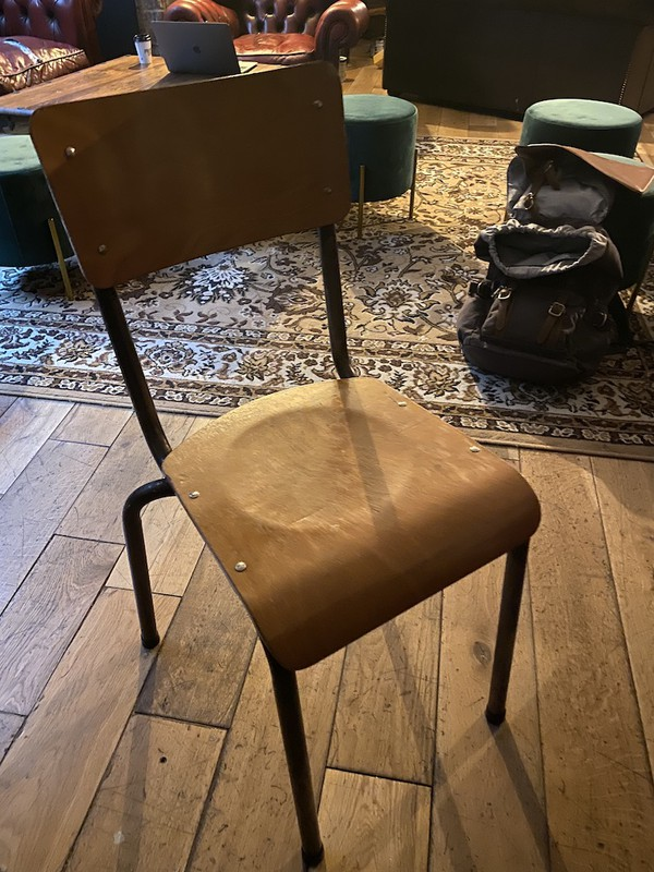 Wood and Metal Vintage School Chairs