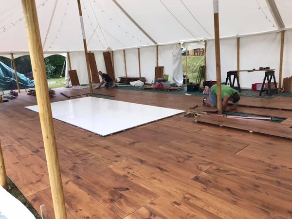 Installed Pine Wood Marquee Flooring