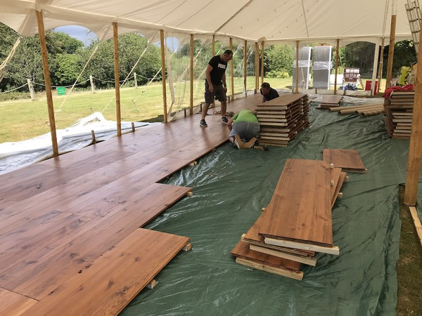 Assembly of Pine Wood Marquee Flooring
