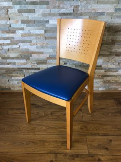 Restaurant Dining chair with blue seat pad