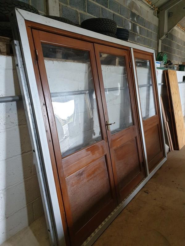 Wooden marquee door with aluminium frame