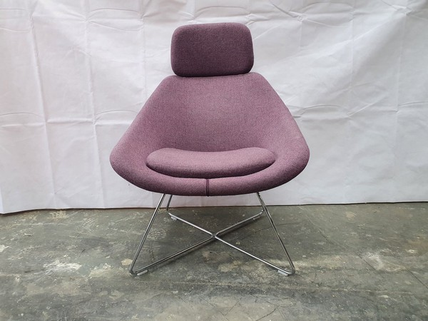 Allermuir A643 Purple Tweed Lounge Chair with Headrest on a Wire Frame (