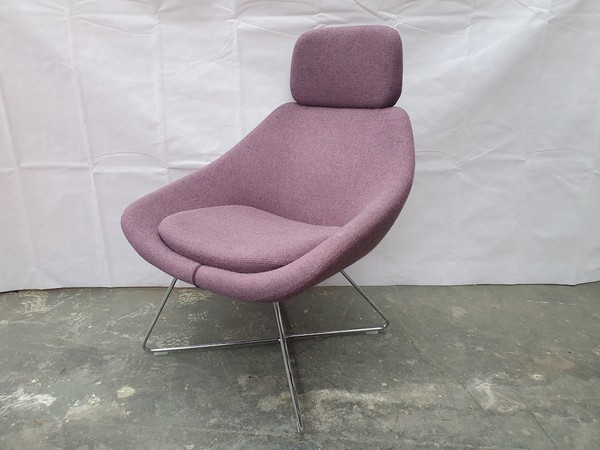 Matching Allermuir A643 Purple Tweed Lounge Chair with Headrest on a Wire Frame (