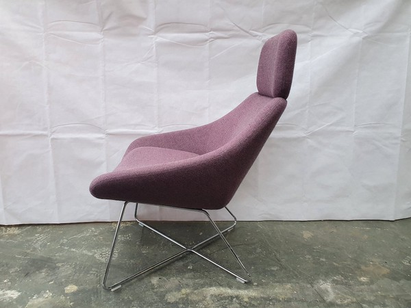 Pair of Allermuir A643 Purple Tweed Lounge Chair with Headrest on a Wire Frame (