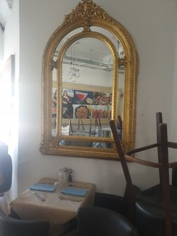 Large gilt gold statement mirror