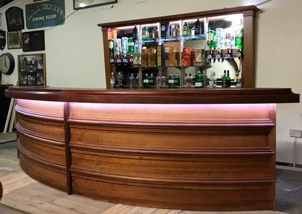 Curved Reclaimed / Vintage veneer bar
