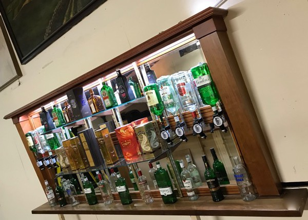Reclaimed back bar with mirrors