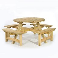 New Lincoln Round 8 Seat Commercial Picnic Tables