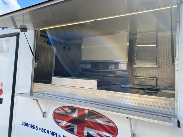 Brushed stainless steel fish and chip van