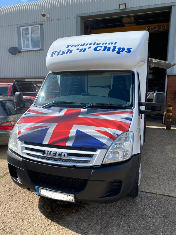 Fish and chip van with serving large hatch