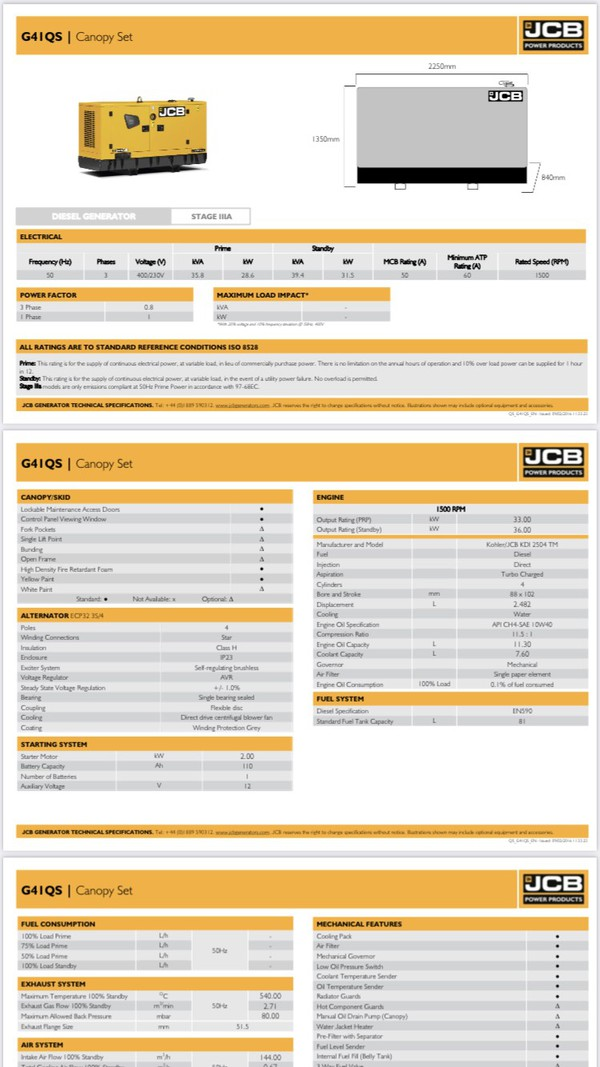Q41QS Generator by JCB for sale