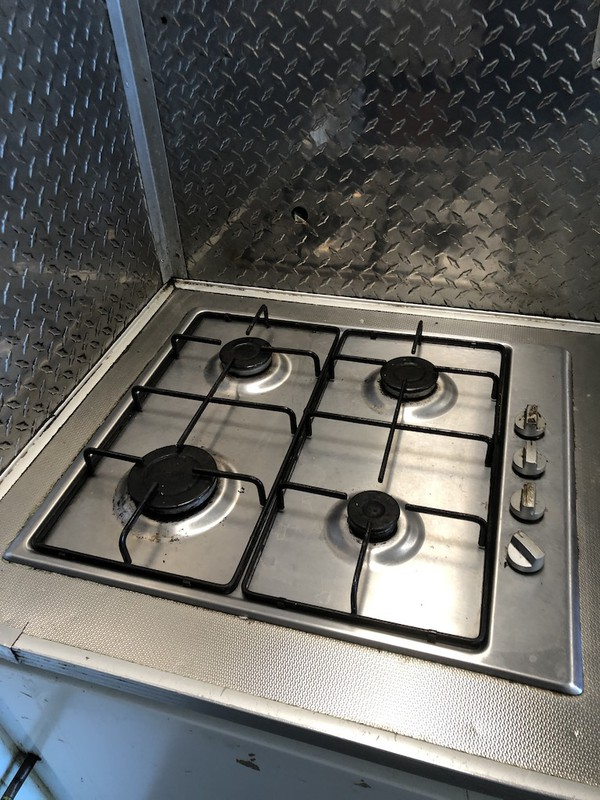 Gas burners in catering trailer