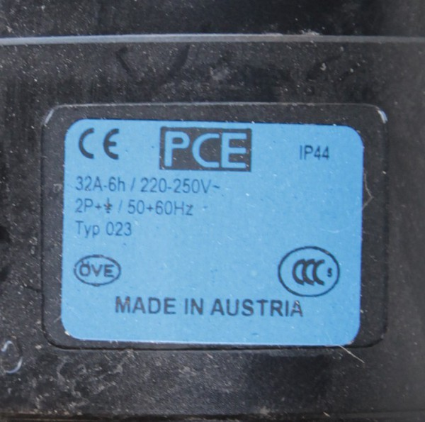 PCE 32A  220 - 250V 2P Type 023  Midnight Series Black Commando Socket