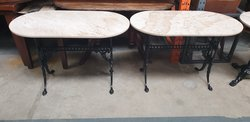 Oval marble tables