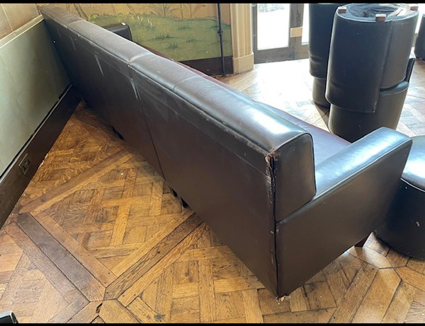 Classic Brown Leather Banquette