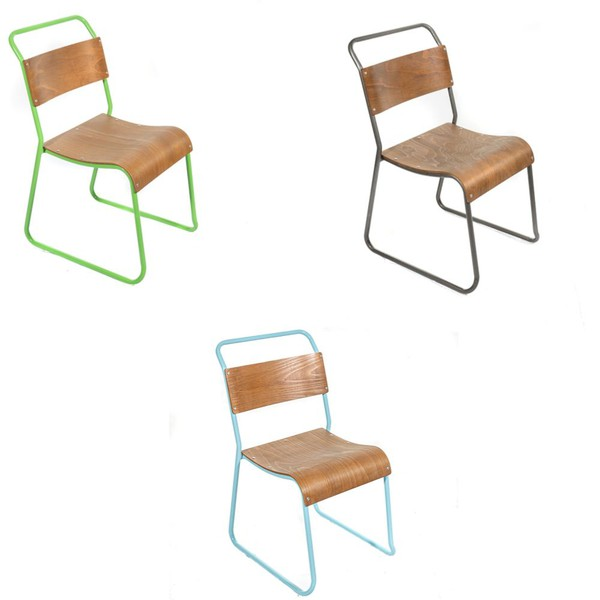 Plywood and steel stacking retro chairs