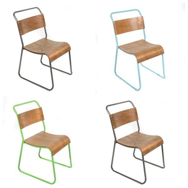 Gunmetal Grey Green Blue Framed Chairs