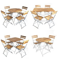 Wooden Folding Bistro Table & Chair Sets