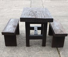 Rustic Hardwood Outdoor Table and Bench Sets