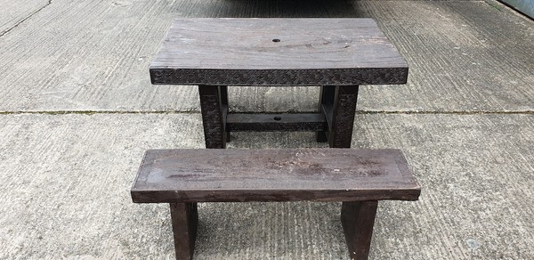 Dark Wood Table and Bench Sets