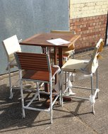 Teak High Bar Tables and Chairs