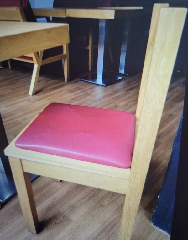 dining chair with red seat