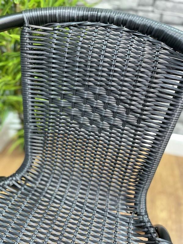 Black Rattan Stacking Chair