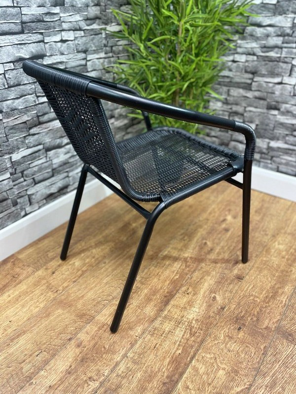 Black Rattan Stackable Chair