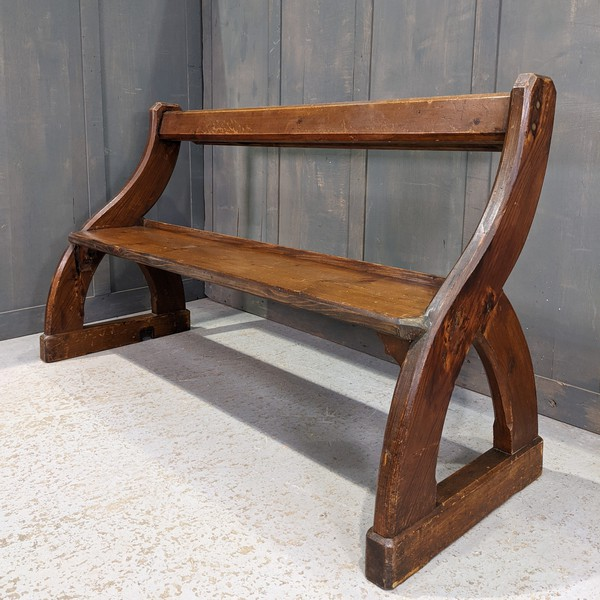 Antique Pine Scottish 'Y' Ended Church Pew
