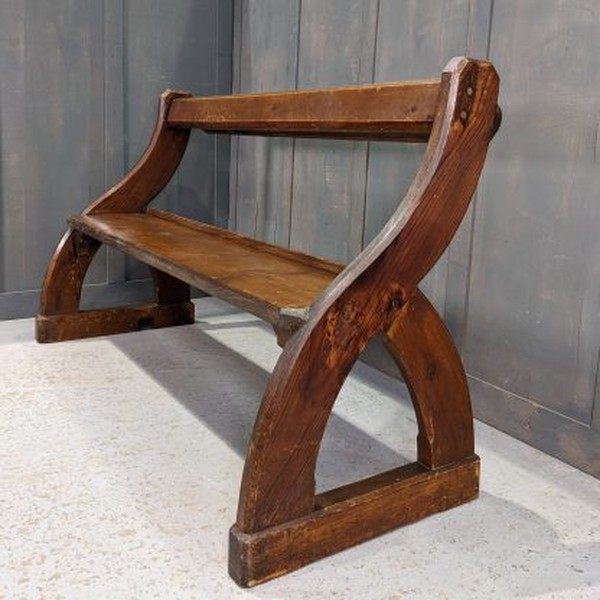 Vintage Pine Scottish 'Y' Ended Church Bench