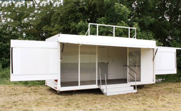 Exhibition trailer for sale with canopy