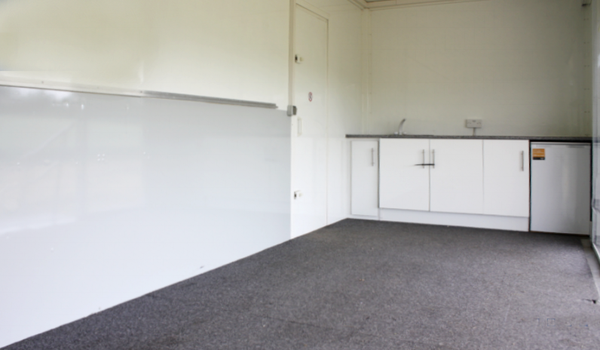 Exhibition trailer with kitchen and fridge