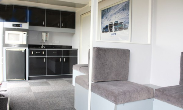 Two room exhibition trailer with kitchen