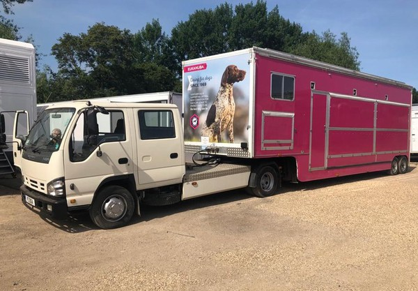 9m Arctic exhibition trailer for sale with large awning