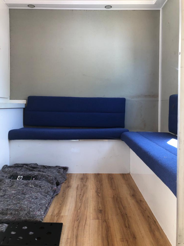 Seating area in the trailer