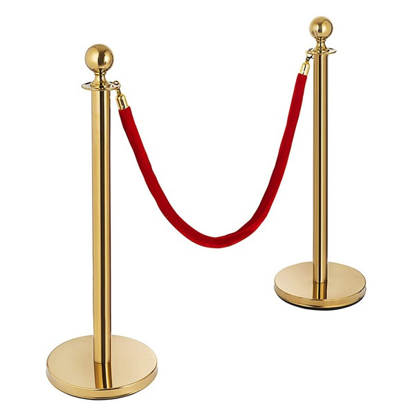 Red Barrier ropes with Gold Ends