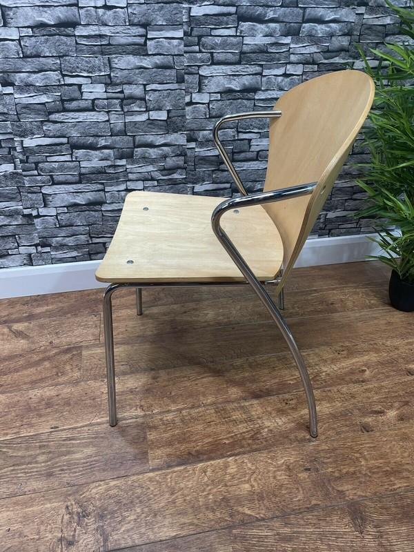 Wood Ply Metal Frame Arm Chair