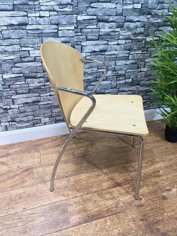 Wooden Ply Metal Frame Arm Chairs
