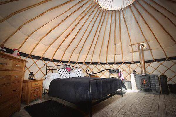 Yurt with steam bent sweet chestnut