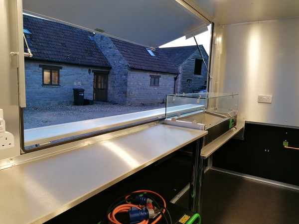 Catering trailer with large serving hatch