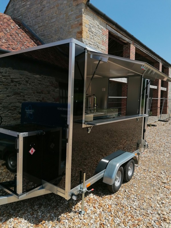 Twin Axle black catering trailer for sale
