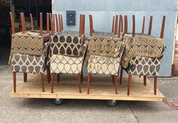 Lot of Upholstered Diamond Pattern Armchairs