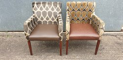Used Upholstered Diamond Pattern Armchairs