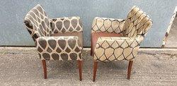 Upholstered Diamond Pattern Armchairs