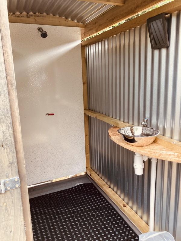 corrugated metal Glamping shower unit