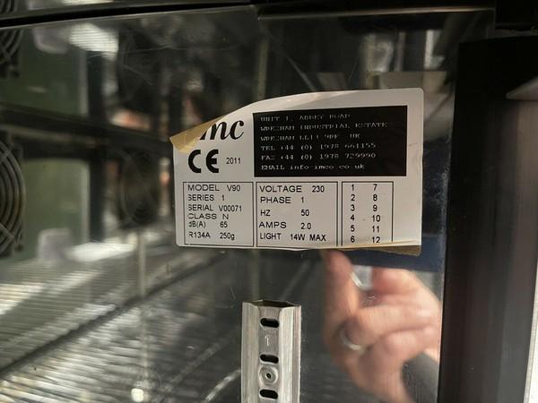Used IMC V90 Under Counter Stainless Steel Display Glass Double Door Bottle Fridge For Sale