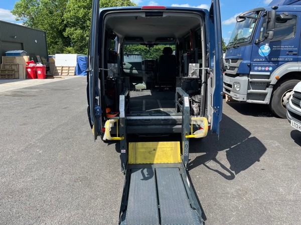 Wheelchair lift in the lower position