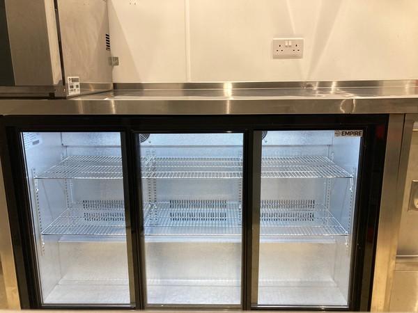 Triple glass door fridge with lights