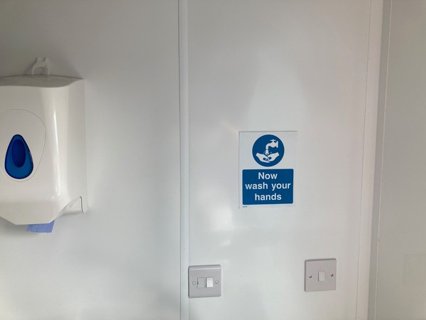 Wipe down walls and hand sanitiser