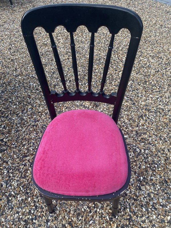 Cheltenham Banqueting Chairs in Black with Pink Seat Pads